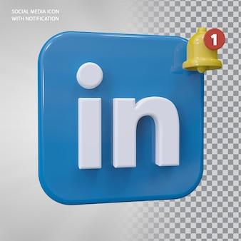 Conceito do ícone likedin 3d com notificação de campainha