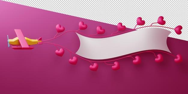 Conceito dos namorados com corações em renderização 3d isolados
