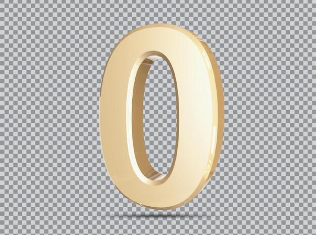 Conceito dourado 3d número 0 rende