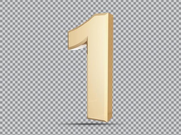 Conceito dourado 3d número 1 render