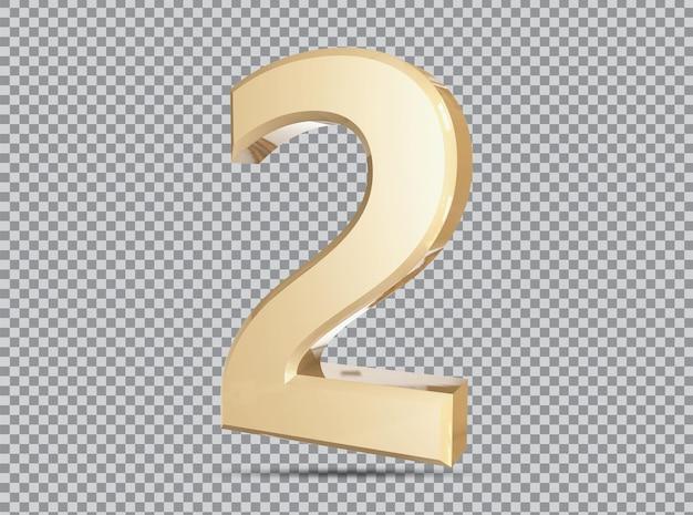 Conceito dourado 3d número 2 render