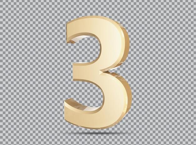 Conceito dourado 3d número 3 render