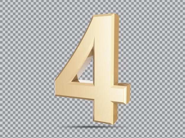 Conceito dourado 3d número 4 render