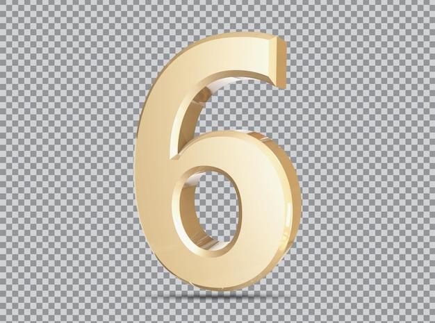 Conceito dourado 3d número 6 render