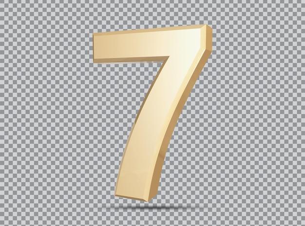 Conceito dourado 3d número 7 render