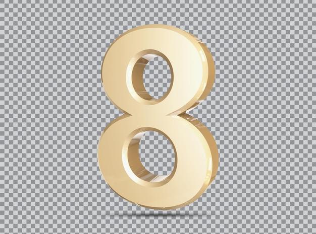 Conceito dourado 3d número 8 render
