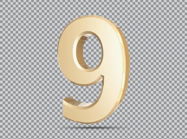 Conceito dourado 3d número 9 render