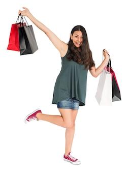 Conceito fêmea alegre do estúdio dos sacos de compras