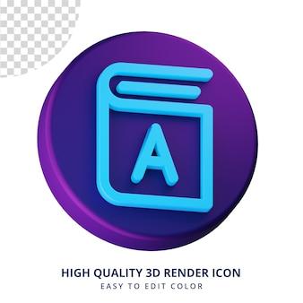 Conceito isolado de renderização 3d de ícone de livro de alta qualidade