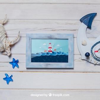 Conceito marinho com quadro