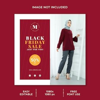 Conceito minimalista do modelo de mídia social para venda na sexta-feira negra