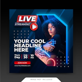 Conceito neon retro. live streaming instagram post template de mídia social