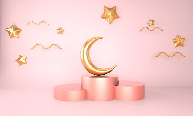 Conceito ramadan kareem em renderização 3d