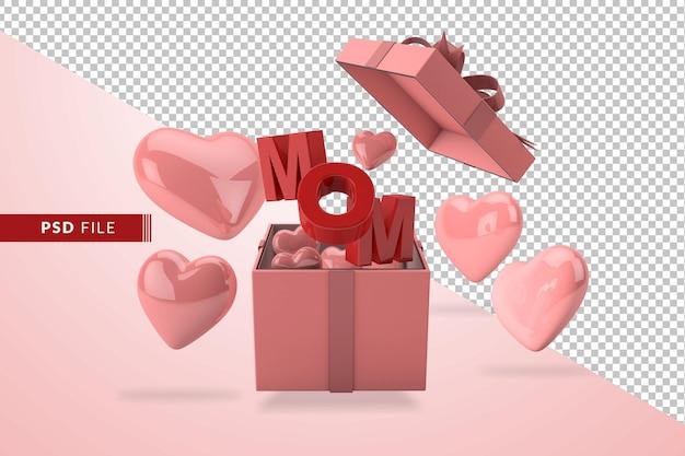 Conceito rosa do dia das mães em 3d com corações