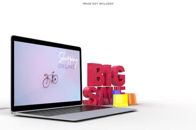 Conceitos de grande venda de compras online com maquete de laptop