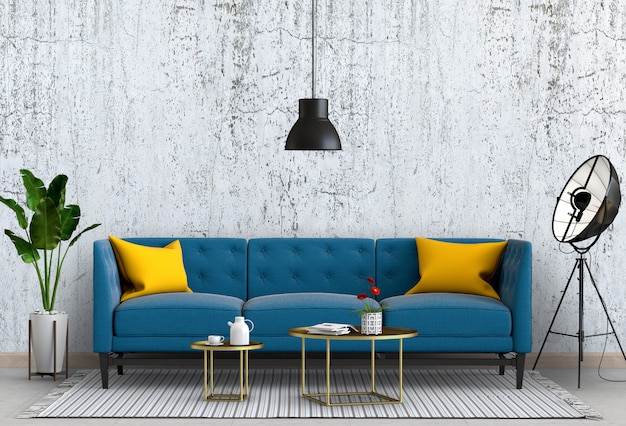 Concreto de parede interior sala de estar com sofá, planta, lâmpada, render 3d