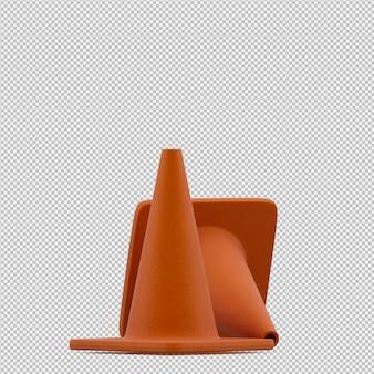Cone de aviso isométrico 3d render