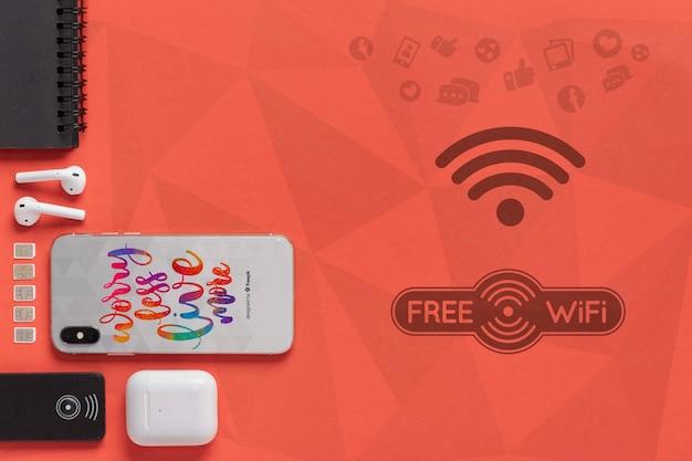 Conexão wifi mock-up 5g para dispositivos