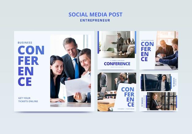 Conferência de negócios com modelo de panfleto