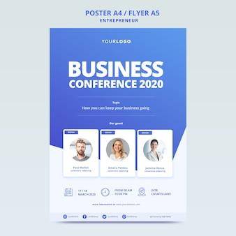 Conferência de negócios com modelo para cartaz
