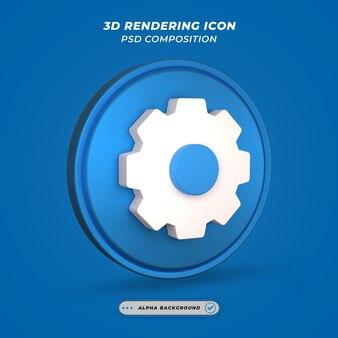 Configurações ou ícone de engrenagem na renderização 3d