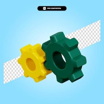 Configurando a ilustração da renderização 3d da engrenagem isolada