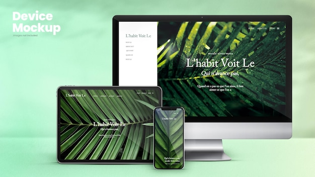 Configurar maquete de tela de dispositivo digital