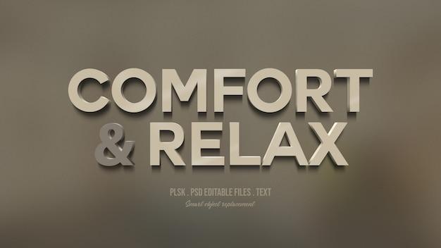 Conforto e relaxamento efeito de estilo de texto 3d