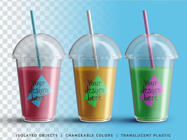 Conjunto colorido de embalagem de copo transparente de plástico descartável de suco frio de verão para viagem