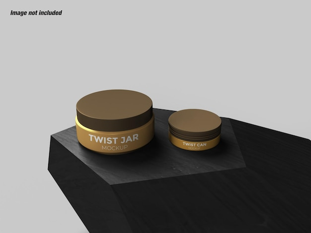 Conjunto cosmético twist jar e tiwst can mockup