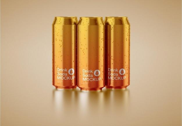 Conjunto de 3 maquete de lata de alumínio Psd Premium