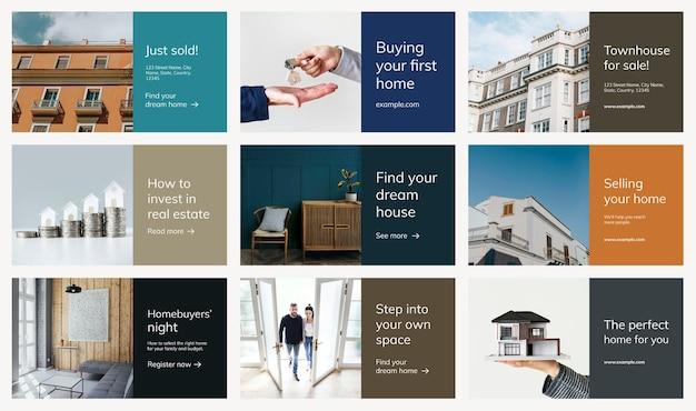 Conjunto de apresentação de negócios psd modelo de publicidade imobiliária