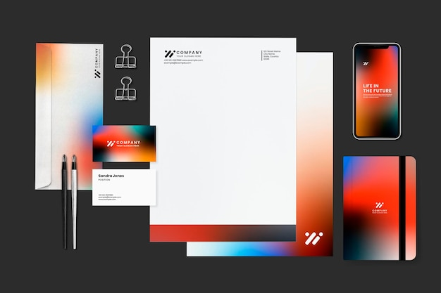 Conjunto de artigos de papelaria corporativos, mockup psd em estilo gradiente moderno