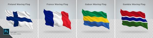 Conjunto de bandeiras da finlândia, frança, gabão, gâmbia bandeira definida em transparente