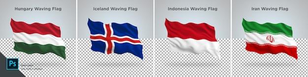 Conjunto de bandeiras da hungria, islândia, indonésia, irã bandeira definida na transparente