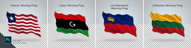 Conjunto de bandeiras da libéria, líbia, liechtenstein, lituânia bandeira definida na transparente