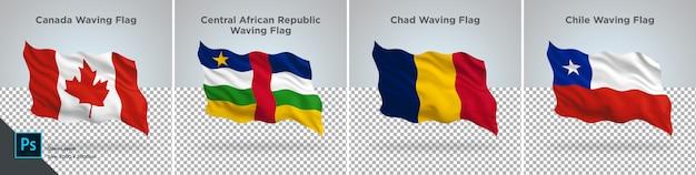 Conjunto de bandeiras do canadá, república centro-africana, chade, chile bandeira definida em transparente