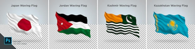 Conjunto de bandeiras do japão, jordânia, caxemira, cazaquistão bandeira definida em transparente