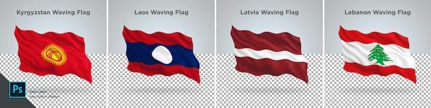 Conjunto de bandeiras do quirguistão, laos, letônia, líbano bandeira definida em transparente
