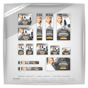 Conjunto de banner de campanha de marketing de negócios