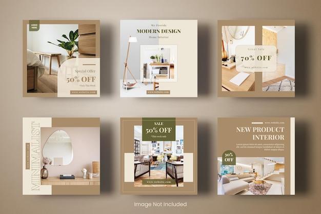 Conjunto de banner de modelo de post de instagram de design de interiores