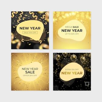 Conjunto de banner de venda de ano novo