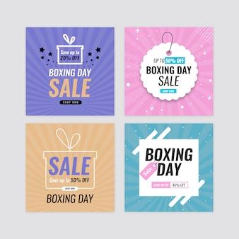 Conjunto de banner de venda de dia de boxe