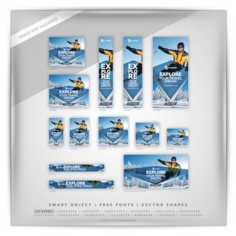 Conjunto de banner de viagens de inverno