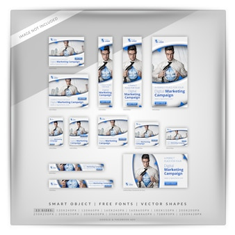 Conjunto de banner digital de marketing de negócios digitais