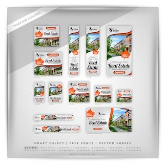 Conjunto de banner do google laranja imobiliário