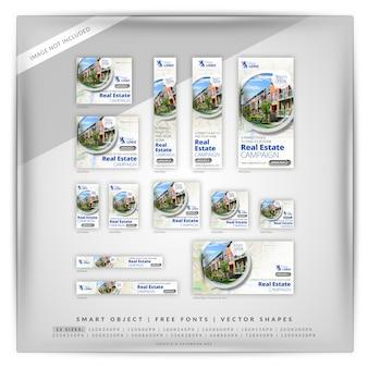 Conjunto de banner do google mapa imobiliário de 140