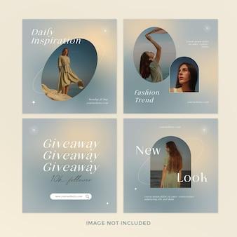 Conjunto de banners de postagens de moda gradiente