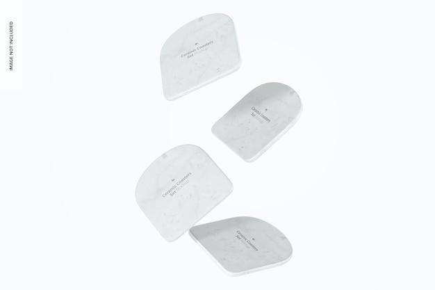 Conjunto de bases para copos de cerâmica, maquete, flutuante
