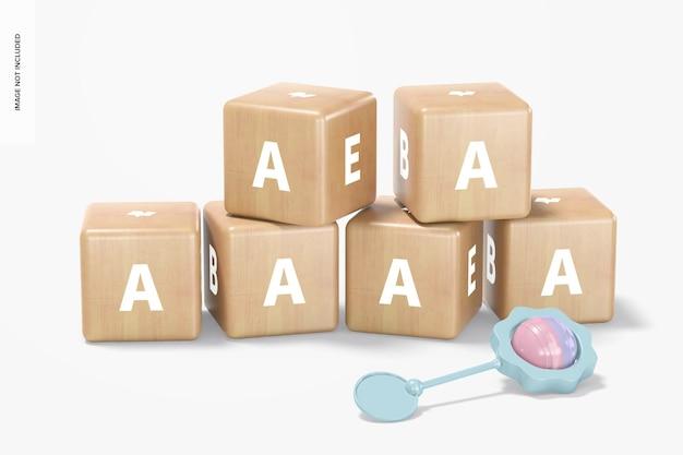 Conjunto de blocos de madeira para bebês, maquete, vista frontal